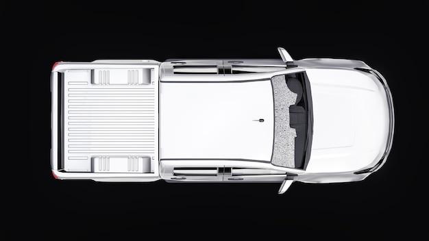 Carro coletor branco sobre um fundo preto. renderização 3d.