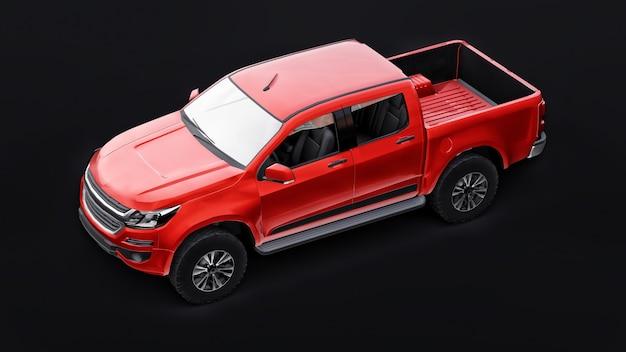 Carro coletor vermelho sobre um fundo preto. renderização 3d.