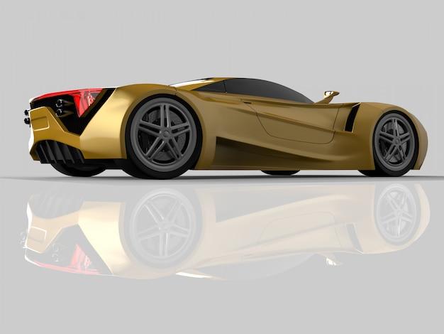 Carro-conceito de corrida amarelo. imagem de um carro em um fundo cinza brilhante