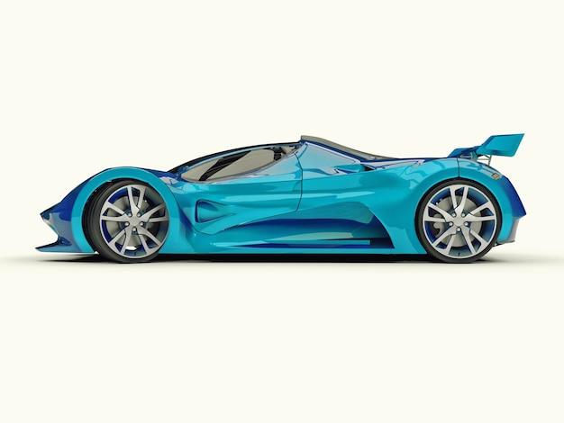 Carro-conceito de corrida azul. imagem de um carro em um fundo branco. renderização 3d.
