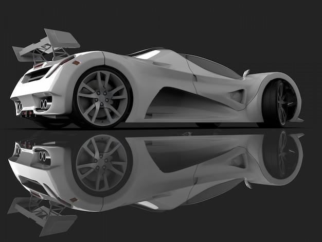 Carro-conceito de corrida branco. imagem de um carro. renderização em 3d.