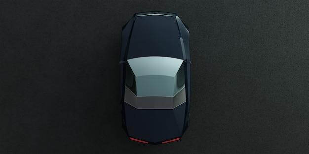 Carro-conceito elétrico ev sem marca na estrada de asfalto. renderização 3d com meu próprio design criativo.