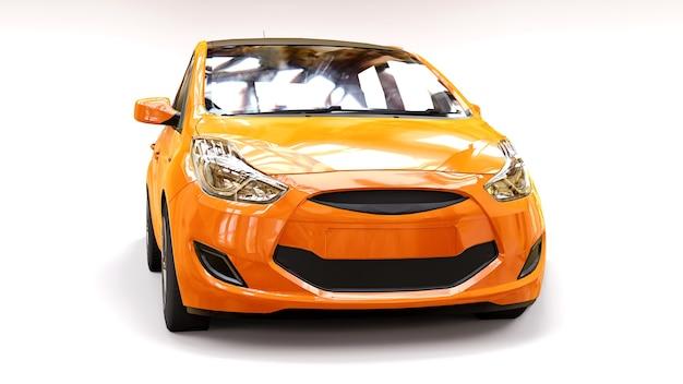 Carro da cidade laranja com superfície em branco para seu design criativo. renderização 3d.