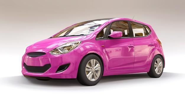 Carro da cidade rosa com superfície em branco para seu design criativo. ilustração 3d.