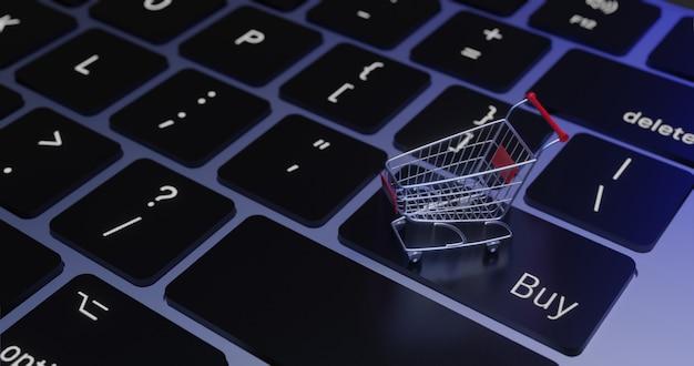 Carro da rendição 3d no teclado., conceito em linha de compra.