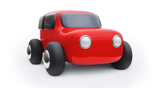 Carro de brinquedo de desenho animado. ilustração 3d