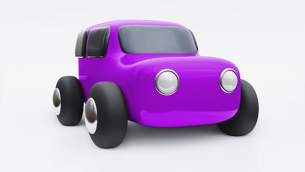 Carro de brinquedo de desenho animado. ilustração 3d.