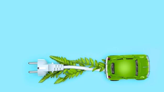 Carro de brinquedo verde como carro elétrico ev com cabo branco no azul