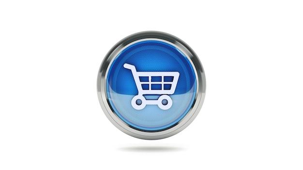 Carro de compras com ícone brilhante de comércio eletrônico com cursor do mouse renderização em 3d