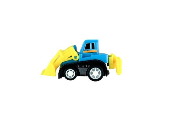 Carro de criança escavadeira azul e amarelo em fundo isolado. foto de alta qualidade