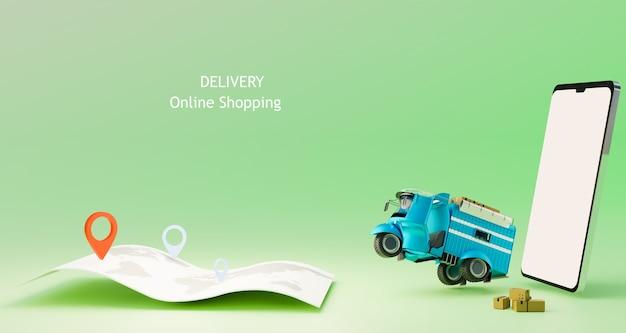 Carro de entrega começando a sair da entrega gps de rastreamento de compras online renderização de ilustrações 3d