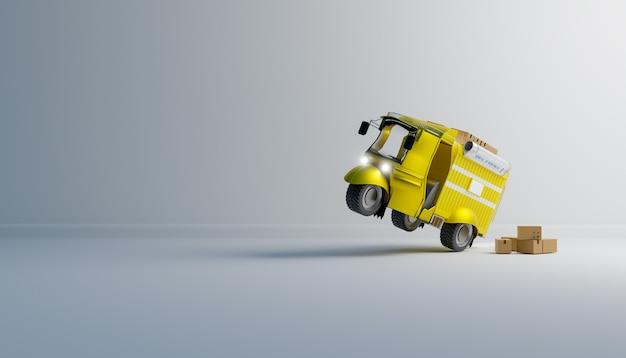 Carro de entrega engraçado em fundo branco, renderização de ilustrações 3d