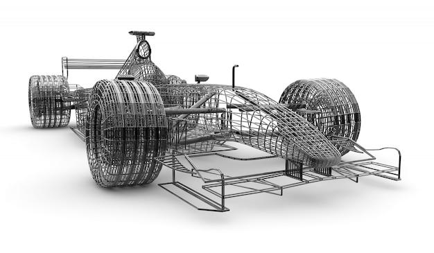 Carro de fórmula 1 com estrutura de arame
