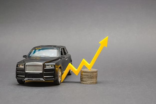 Carro de luxo com uma seta amarela apontando para cima sobre uma pilha de moedas isoladas em um fundo cinza