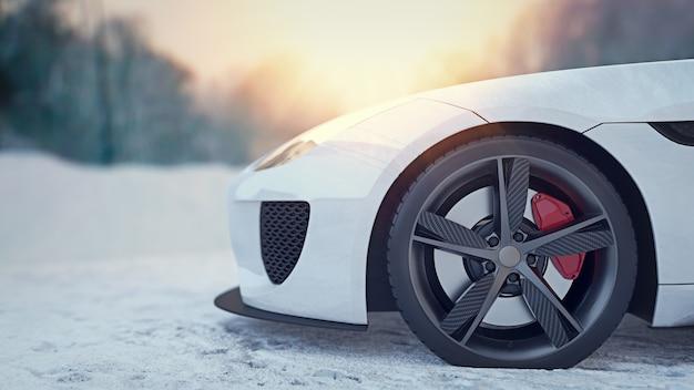 Carro de mancha branca na neve. renderização 3d e ilustração.