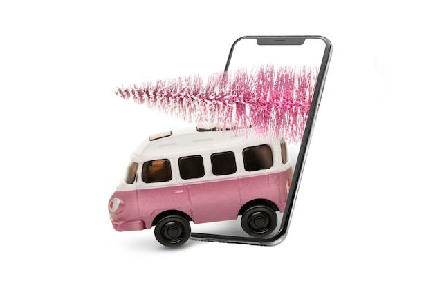 Carro de ônibus de brinquedo e decoração de natal com espaço de cópia