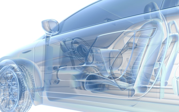 Carro de raio x azul