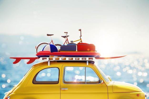 Carro de renderização 3d com bagagem no teto