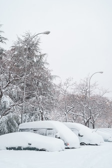 Carro de visão vertical estacionado sob a neve na rua.