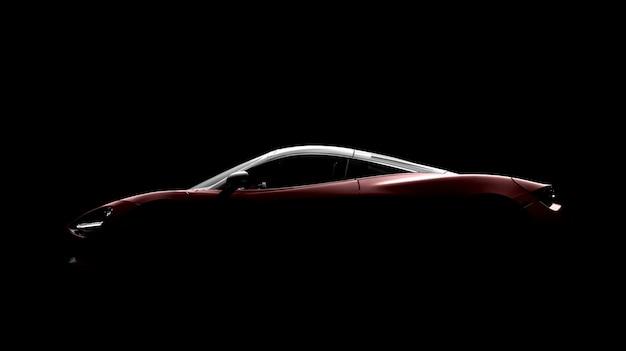 Carro desportivo genérico vermelho sobre um fundo preto