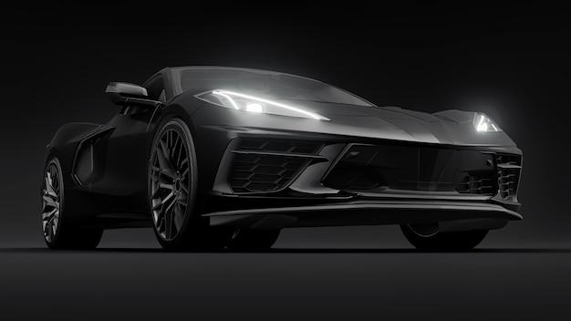 Carro desportivo ultramoderno com motor central e fundo branco isolado. um carro para correr em pista e em recta. ilustração 3d
