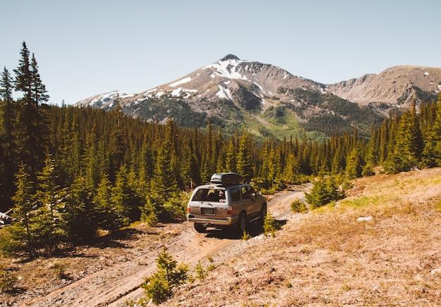 Carro dirigindo em um caminho no meio de árvores com montanhas e um céu claro