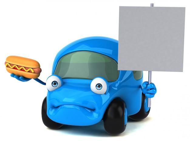 Carro divertido - ilustração 3d