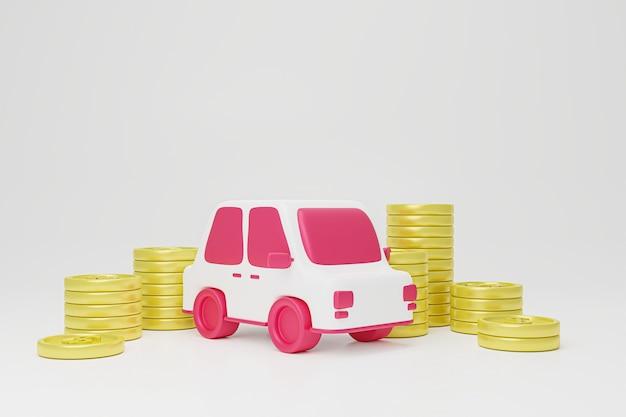 Carro e demonstrativo financeiro com moedas.