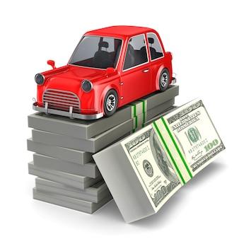 Carro e dinheiro em branco