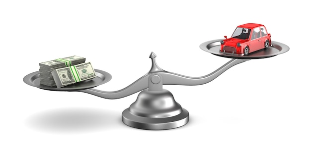 Carro e dinheiro em escala em branco