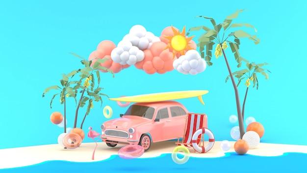 Carro e prancha rodeada por bolas coloridas à beira-mar. renderização em 3d.