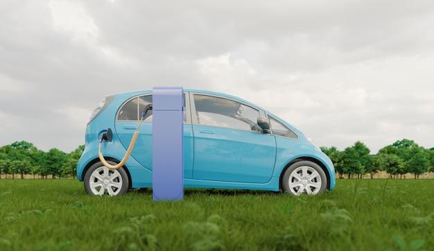 Carro elétrico carregando ao ar livre