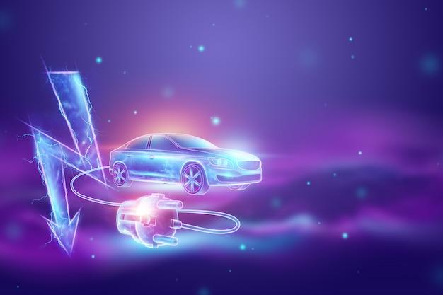 Carro elétrico com fio de carregamento, holograma, sinal de eletricidade.