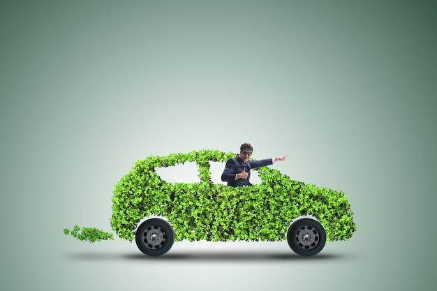 Carro elétrico, em, verde, meio ambiente