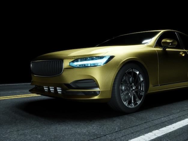 Carro envolto em filme de carbono dourado. renderização 3d