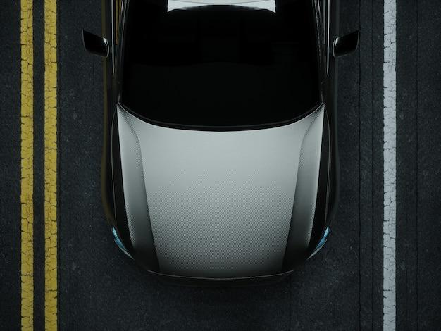 Carro envolto em filme de carbono prata. renderização 3d