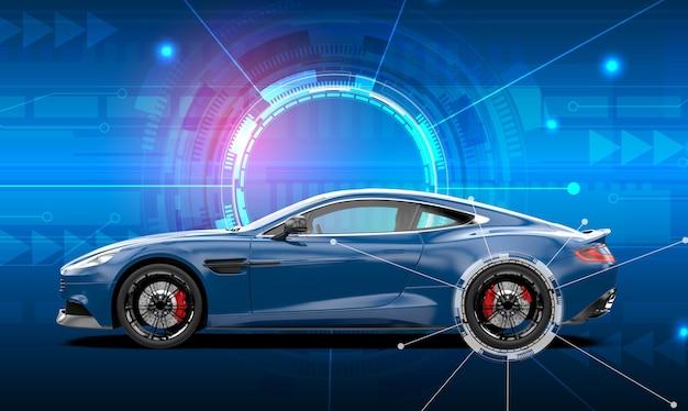 Carro esporte genérico azul em um fundo de tecnologia