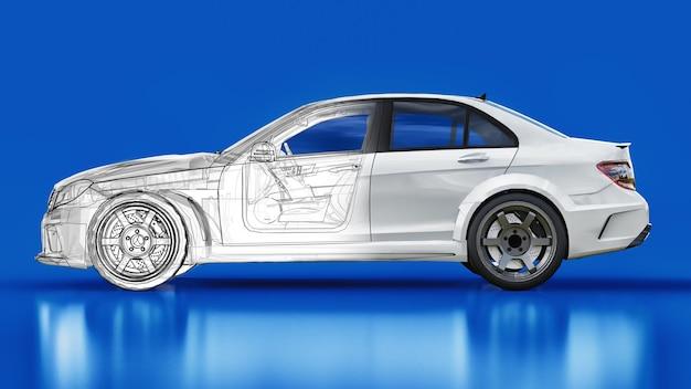 Carro esporte super rápido branco sobre fundo azul. sedan em forma de corpo. o tuning é uma versão de um carro familiar comum. renderização 3d.