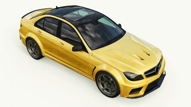 Carro esporte super rápido e dourado