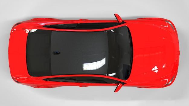 Carro esporte vermelho brilhante no cupê. renderização 3d.