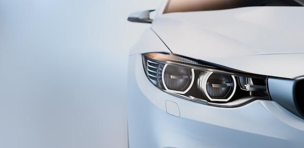 Carro esportivo branco. renderização 3d. ilustração.