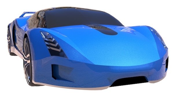 Carro esportivo conceitual brilhante azul do futuro.