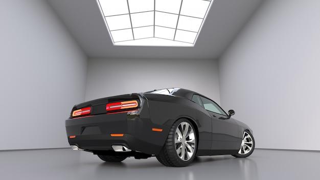 Carro esportivo conceitual preto poderoso