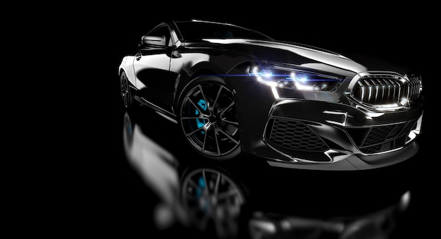 Carro esportivo de luxo preto sobre fundo escuro.