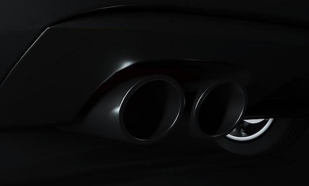 Carro esportivo futurista preto, conceito retrovisor (com sobreposição de grunge), sem marca - renderização 3d