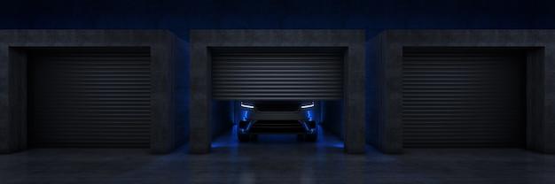 Carro esportivo na garagem com porta de rolo aberta renderização 3d