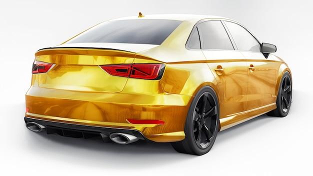 Carro esportivo super rápido amarelo em um fundo branco ilustração em 3d do sedã em forma de corpo