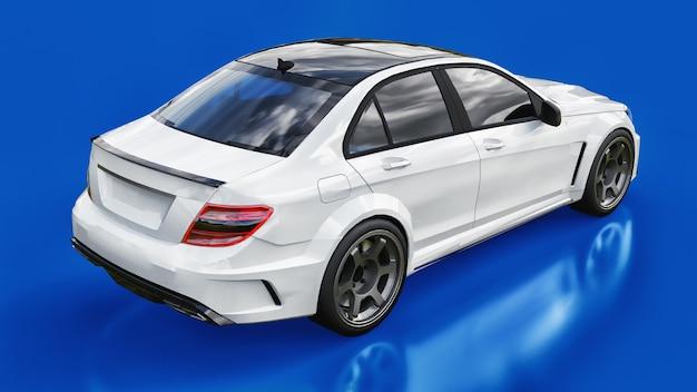Carro esportivo super rápido branco sobre fundo azul sedã em formato de corpo