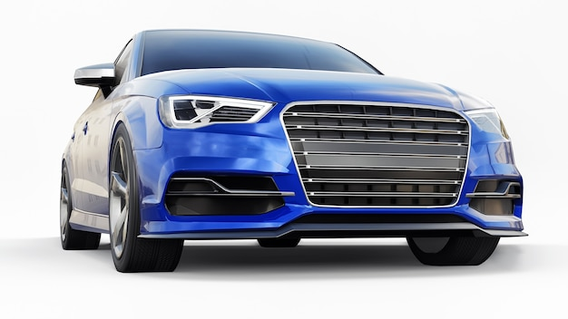 Carro esportivo super rápido de cor azul metálico em um fundo branco forma de sedan