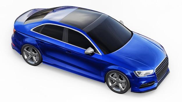 Carro esportivo super rápido de cor azul metálico em um fundo branco. sedan em forma de corpo. o tuning é uma versão de um carro familiar comum. renderização 3d.